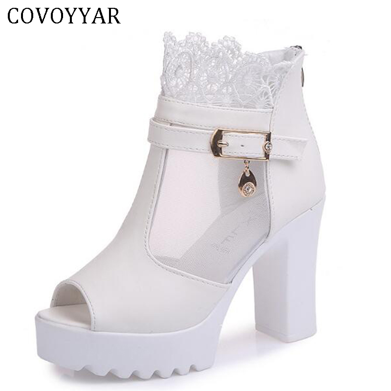 COVOYYAR 2019 Autumn Women Ankle Boots Peep Toe Platform Woman Shoes Lace Cuff Booties Chunky Heel Pumps Summer Sandals WBS450COVOYYAR 2019 Autumn Women Ankle Boots Peep Toe Platform Woman Shoes Lace Cuff Booties Chunky Heel Pumps Summer Sandals WBS450