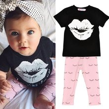 2PCS Baby Clothes Sets Kids Casual Cartoon Outfits Short Sleeve T shirt Long Pants Outfits Plus