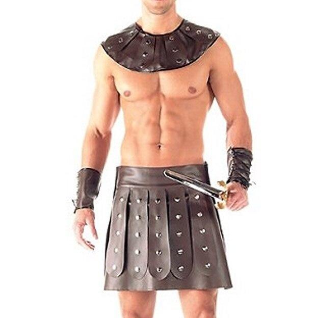 Other Theatrical Clothing Mens Faux Leather Gladiator Kilt Pleated Skirt Split Wrap Style Utility Kilt Street Price