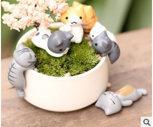 Free shipping 2014 new arrival Cute cat cheese micro moss landscape plants <font><b>action</b></font> <font><b>figure</b></font> toys 6 pieces/set Christmas gift