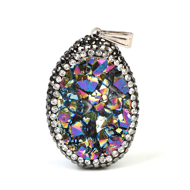 Big Rainbow Natural Druzy Opal Pendants Water Drop Cubic Zircon Wrapped Natural Stone Pendants Pendulum 6 Colors Chakra Pendants