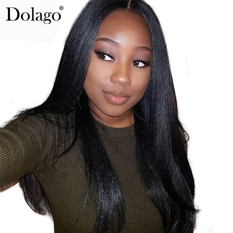 Brazilian Yaki Straight 13x6 Lace Front Human Hair Wigs For Women 150 Density Pre Plucked Deep