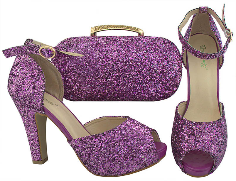 Newest 2018 High Quality African High Heels Shiny Purple Shoes And Bag Set For Party Nigerian Style Shoes And Matching Bag Set itlian style rhinestone slipper shoes and matching bag set new africa high heels shoes and bag set for party size 38 43