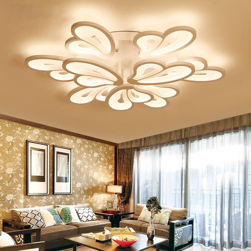 Surface montée LED plafonniers éclairage pour salon chambre salle à manger 90 ~ 260 V blanc fer corps maison luminaires plafonnier