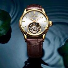 лучшая цена Brand Luxruy Men Wristwatch High-end Men's Automatic Mechanical Watch Hollow Leather Belt Tourbillon Watch Relogio Masculino