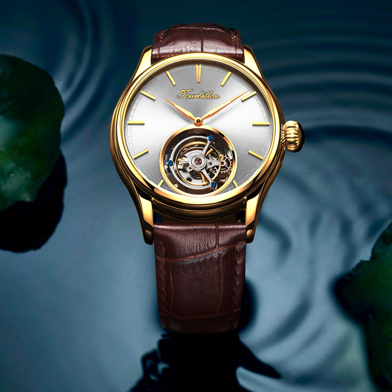 Marque Luxruy montre-bracelet homme haut de gamme montre mécanique automatique pour hommes creux en cuir ceinture Tourbillon montre Relogio Masculino