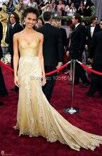 Roter Teppich Halter Liebsten Ärmel Sexy Jessica Alba Champagner Spitze Abendkleid Celebrity Kleider Für Oscars