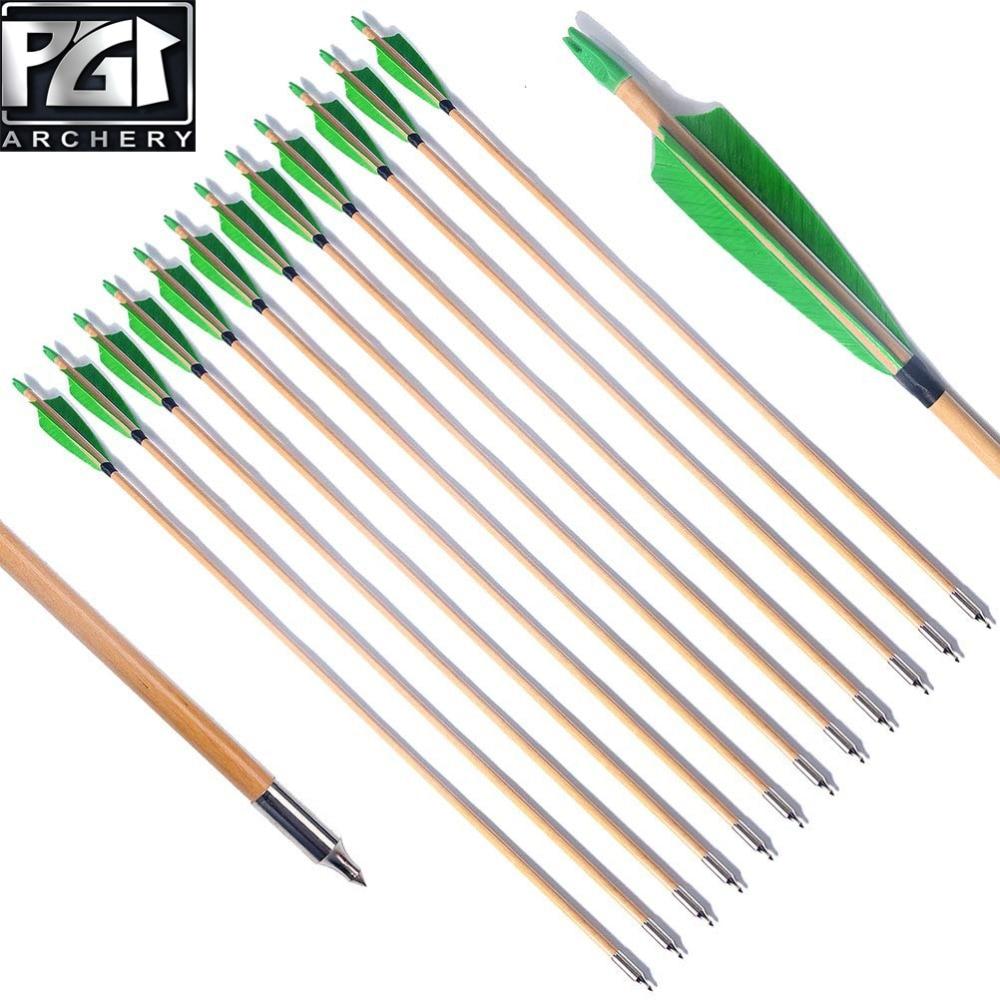 12X Wood arrows Traditional Handmade Arrows Turkey Feather 11//32 For Longbow