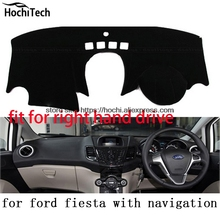 For ford fiesta right hand drive dashboard mat Protective pad black Red car styling Interior Refit