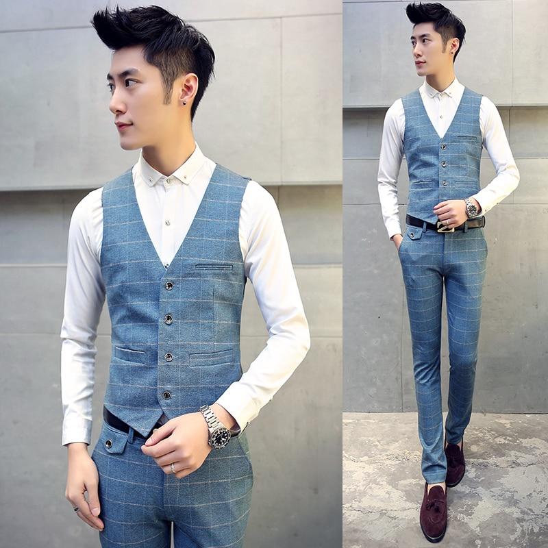 Marée Mode Pantalon Nouvelle coréen 5xl Formelle De Hommes 2 Plaid Élastique Gilet blazer Costumes Pour Slim m Mariage Pièce Costume Fit Robe qx1Hw7gF
