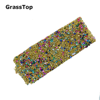 2017 NEW Gold Hot Fix Rhinestone Patch Turquoise Resin Stone Sheet 20X24cm DIY Bracelet Cloth Shoes