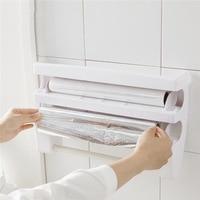Multifunction plastic wrap cutting Storage Rack Home Organizer Holder Space Frigerator Accessories Supplies kitchen accessories