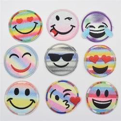 90 sztuk kolor uśmiech haftowane aplikacja żelaza na szyć na łacie mieszane w Łatki od Dom i ogród na