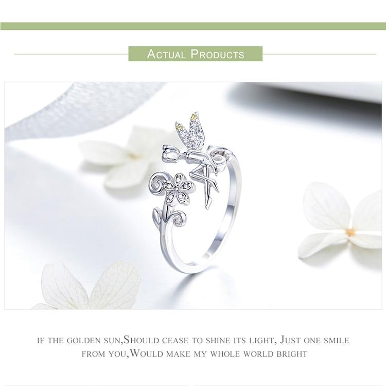 HTB1IGENMrvpK1RjSZFqq6AXUVXaa BAMOER New Arrival 925 Sterling Silver Fairy & Daisy Flower Open Size Finger Rings Women Wedding Engagement Jewelry BSR025