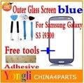 Бесплатная доставка синий цвет передняя дигитайзер сенсорный внешний стеклянный объектив для samsung Galaxy S3 9300