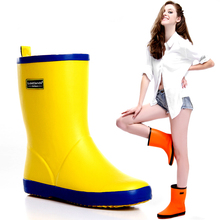 Fashion Rubber Water Shoes Women Middle Rain Boots Female Color Block Women s Rainboots Bright Yellow