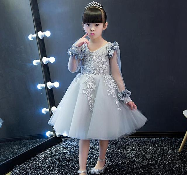 0293ea72b4b 2017 Silver Flower Girl Dresses Long Sleeves Lace Appliques Satin Tulle Ball  Gown Kids Wedding Party First Communion Dresses