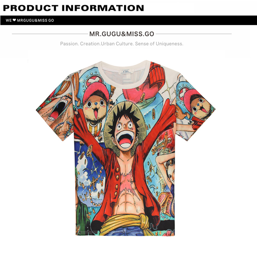 Unisex Daily Top Cartoon One Piece Monkey D Luffy 3DPrinting T Shirt  Casual Daily Tee Couple Top Short Sleeves Lover Top