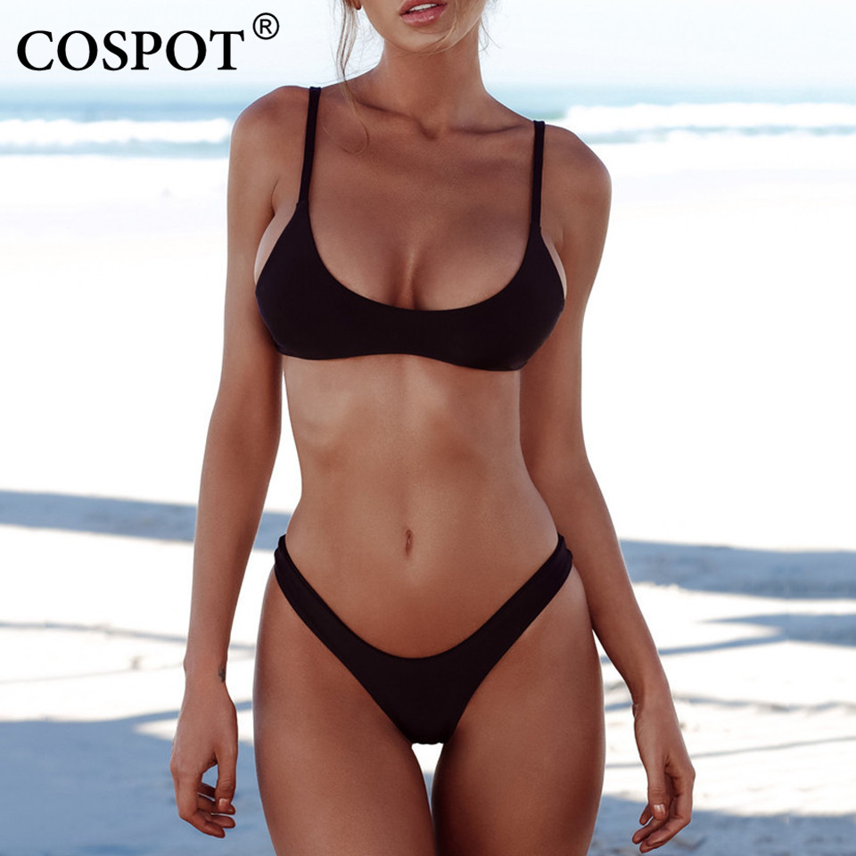 COSPOT Bikini 2018 Sexy Women Swimwear Brazilian Bikini Push Up Swimsuit Solid Beachwear Bathing Suit Thong Biquini Bikini Set knot back solid bikini set
