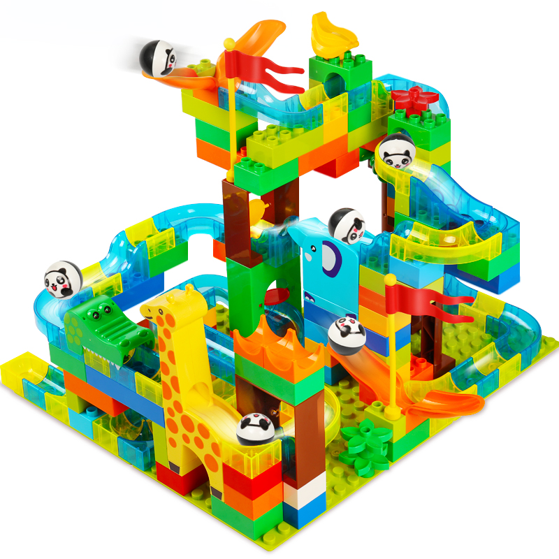 Marble Race Run DIY Track Ball Building Blocks Set Plastic Funnel Slide Compatible with Big Size