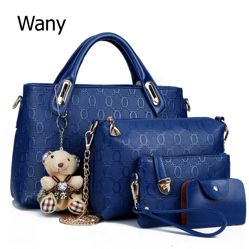 Women's bags 4 pcs/set 2017 spring and summer pu leather women's handbag trend large bag handbag one shoulder cross-body bag 2016 fashion spring and summer crocodile pattern japanned leather patent leather handbag one shoulder cross body bag for women