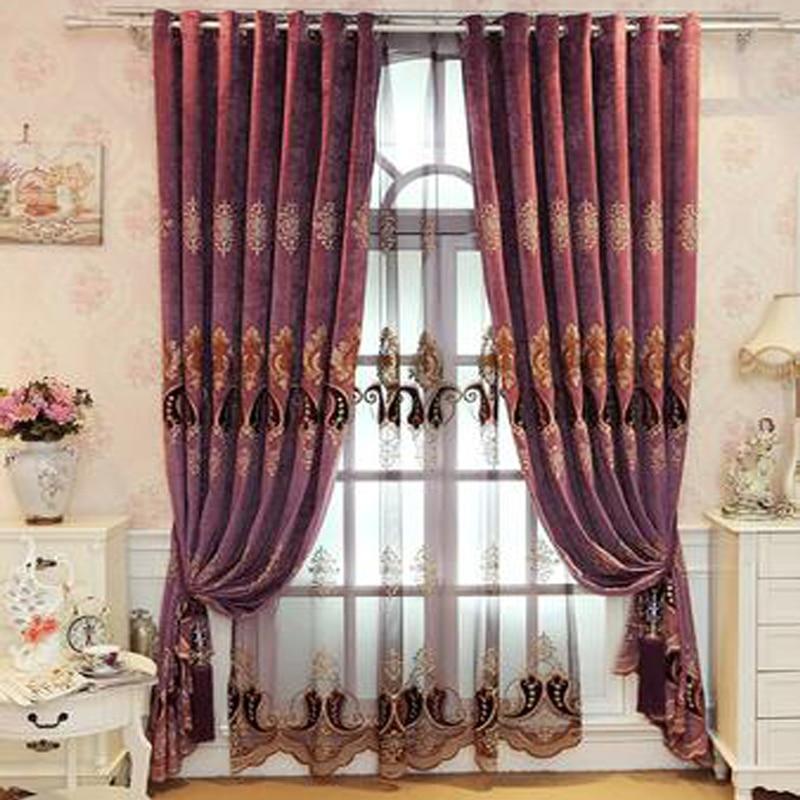 Купить с кэшбэком Beige Green Purple European Luxury Embroidered Blackout curtains for Living Room Upgraded Chenille Custom Curtain for Bedroom
