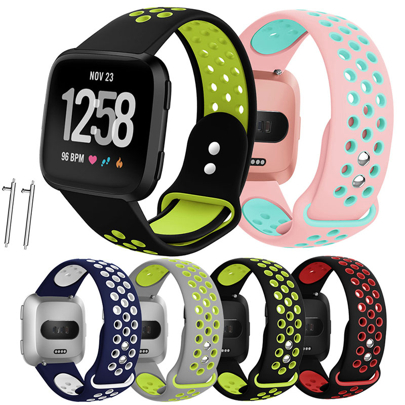 Versa Silicone Rubber Watchband Wrist Strap With Ventilation Holes Soft Sport Strap For Fitbit Versa Sport Smart Watch Bands