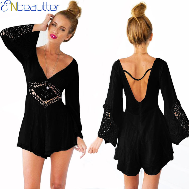 ENbeautter Summer Womens Sexy Halter Bodysuit With Lace V-neck Loose Rompers Hollow Out Jumpsuits Pants Long Sleeve Hot Sale