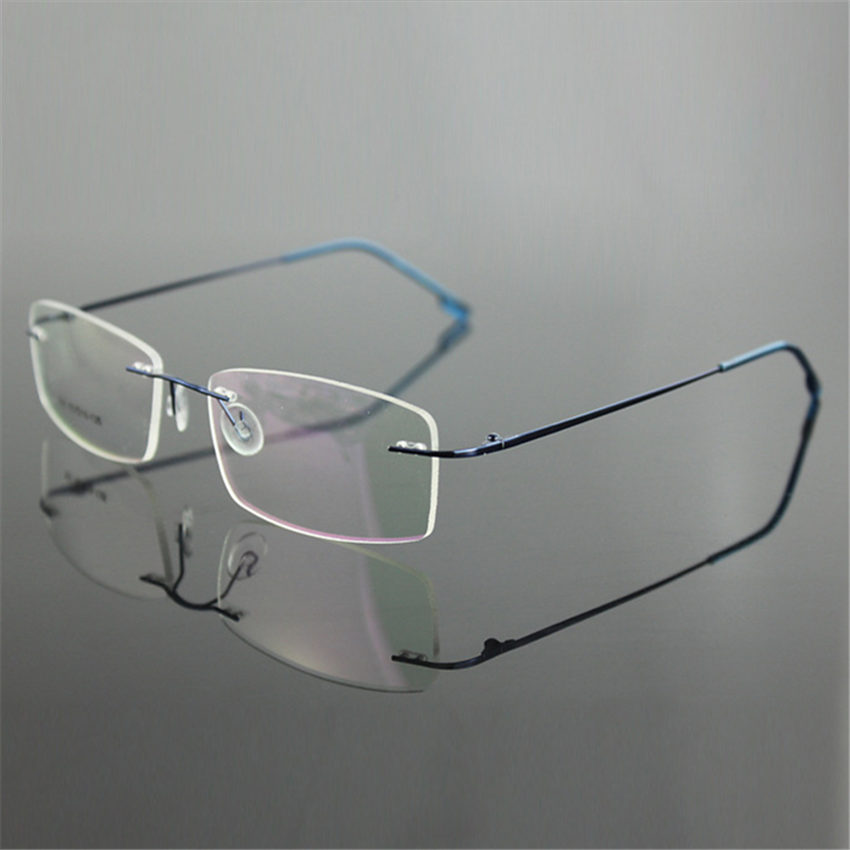 bc8e64b5b9a Classic Mens Pure Titanium Rimless Glasses Frames Myopia Optical Frame  Ultra-light Titanium Business Frameless