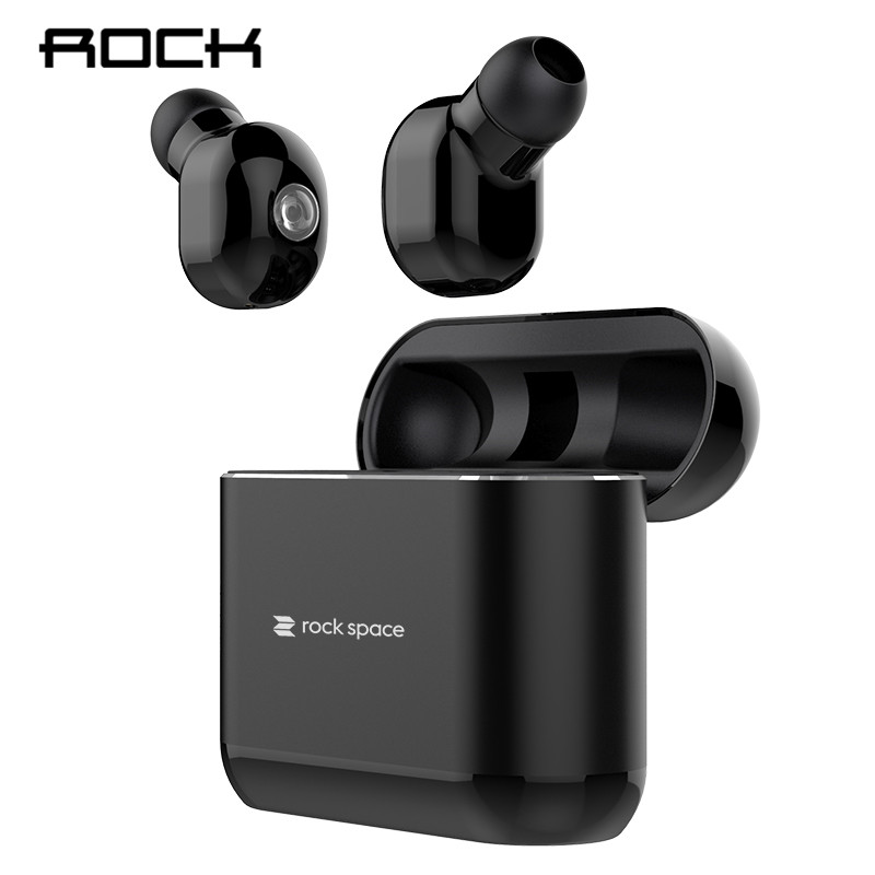 ROCK TWS Mini Wireless Bluetooth 5 0 Earphones Deep Bass Stereo Sweatproof Sport Headsets With Charging