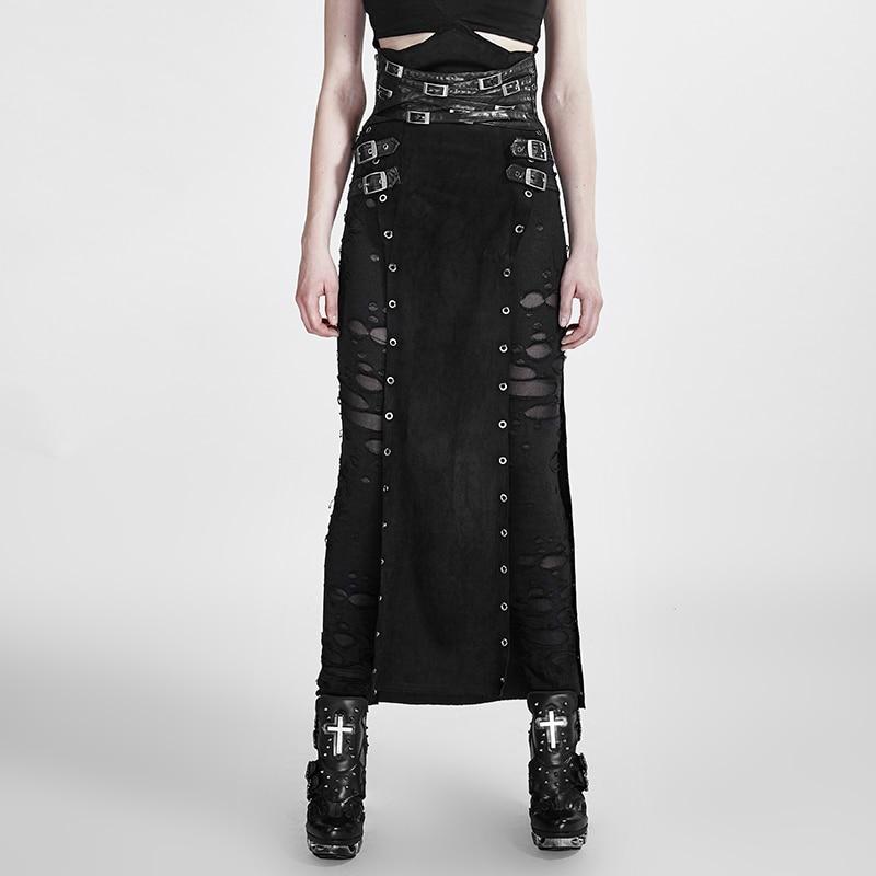 Punk Warrior Long Skirts For Women High Waist Skirt Punk Gothic Black PU Leather Split Skirt  Women Skirts 2019