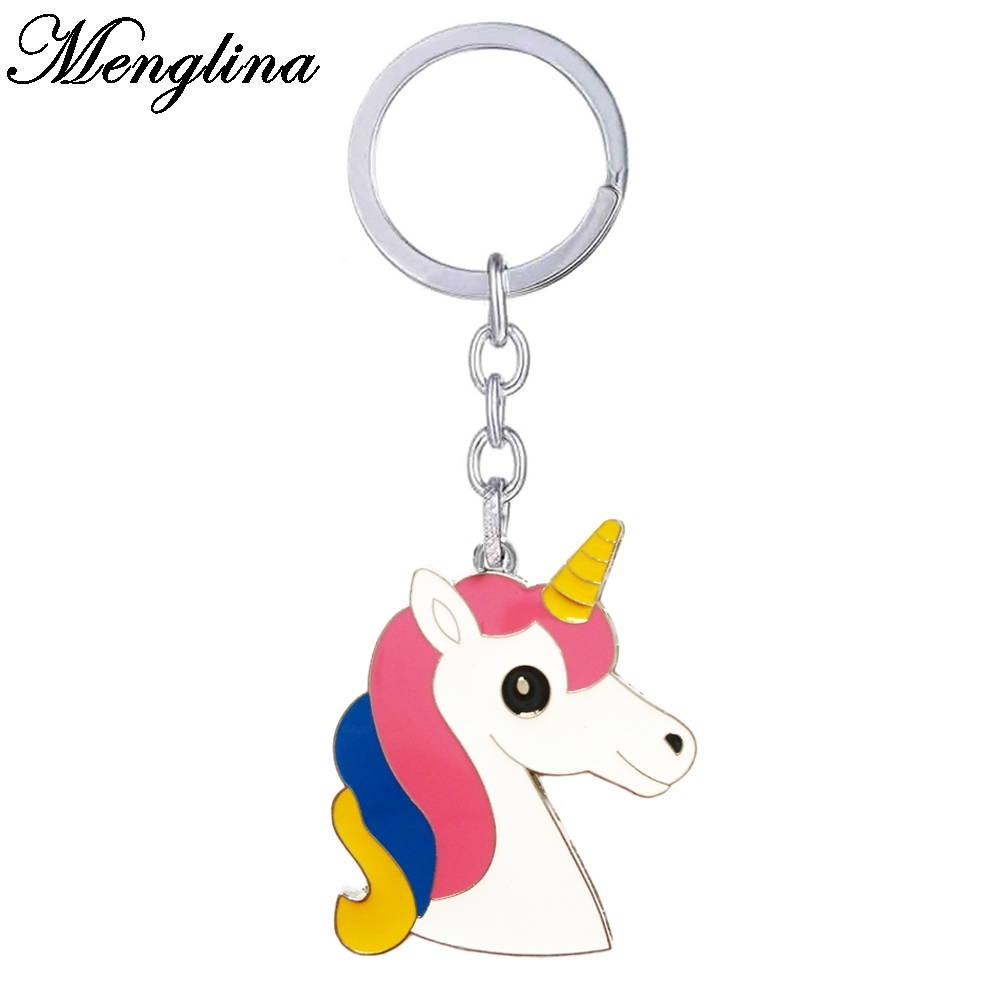 Menglina Fashion Enamel Cartoon Unicorn Keychains Horse Key Ring Women Handbag Charms Accessories Llaveros Animales 170815