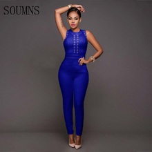 Soumns 2017 Summer European Style Sexy Women Blue Color Sleeveless Bodycon Jumpsuit Sexy Full Length Jumpsuit No.QJ50741