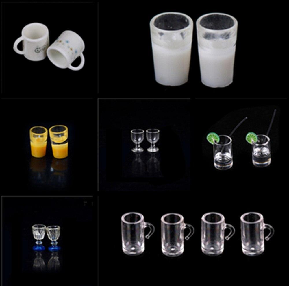 1/2/4/10 pçs 1/12 copos de vidro de vinho placa copo prato conjunto louça dollhouse brinquedo em miniatura boneca alimentos cozinha sala estar acessórios