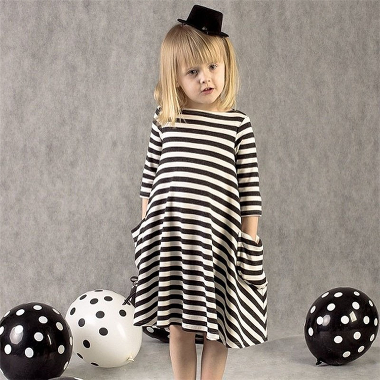 2018 New Arrival Children Clothing Black And White Striped Dress Winter Girl Clothes Casual Kids Dresses For Girls 2-6 Years new arrival styling tool striped ball elastic hair bands accessories make you beautiful used by women young girl and children