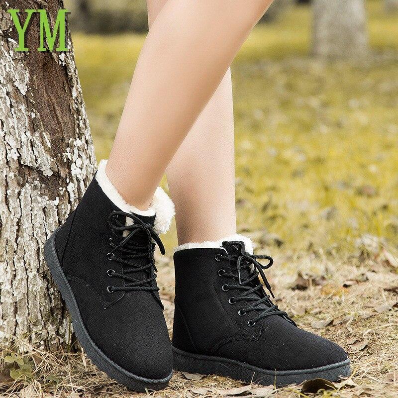 Mujeres Negro marrón watermelon negro Piel Botas Caliente Tobillo 40 Las Nieve 36 De Zapatos Mujer Ac4 Red Beige Invierno txFwfPBq
