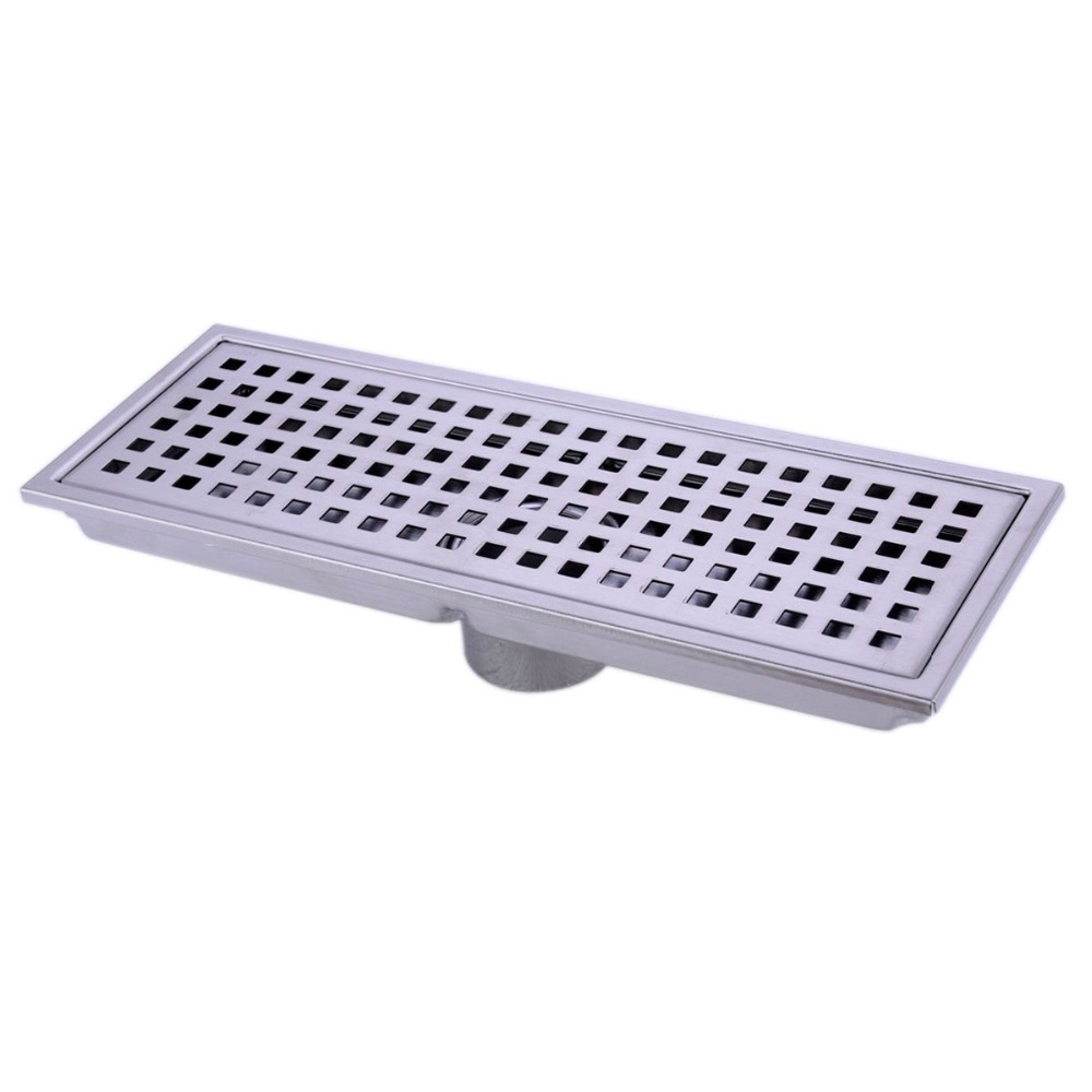 Linear Shower Floor Drain Shower Grate with Removal Cover SUS 304 Stainless Steel 12 Inch Long - Brushed Stainless stainless steel cuticle removal shovel tool silver