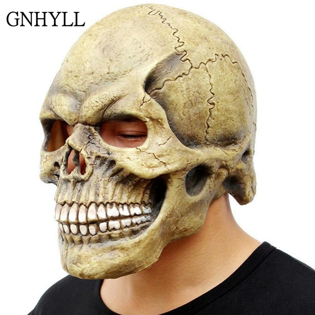 GNHYLL Scary Skull Mask Full Head Realistic Latex Party Mask Horror Skeleton Halloween Cosplay Costume For Adult Men Helmet