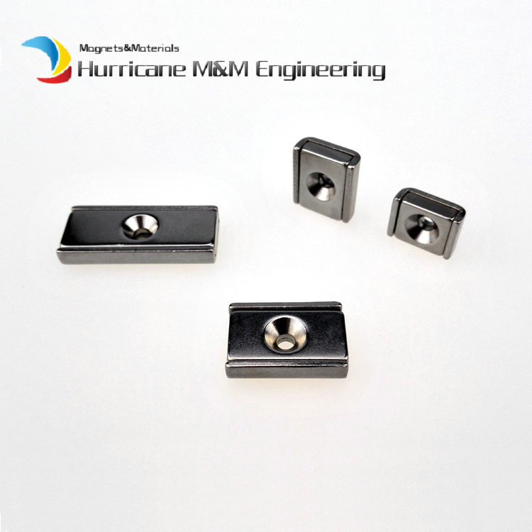 48pcs Tool-holder 10/15mm Rectangle Block Pot Magnet with Countersunk M3 Screw Hole Clamp Neodymium Strong Holding Magnet