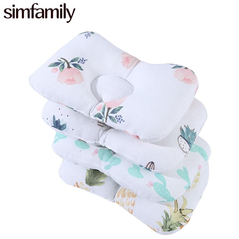 [Simfamily] Bedding Neck Baby Pillow Newborn Infant Shaping Baby Pillow Print Cotton Baby Pillow Sleep Positioner Dropshipping