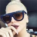 R1 Última Moda Óculos De Sol Mulheres Flat Top Estilo de Design Da Marca óculos de Sol Do Vintage Rebite Feminino Shades Big Quadro Shades
