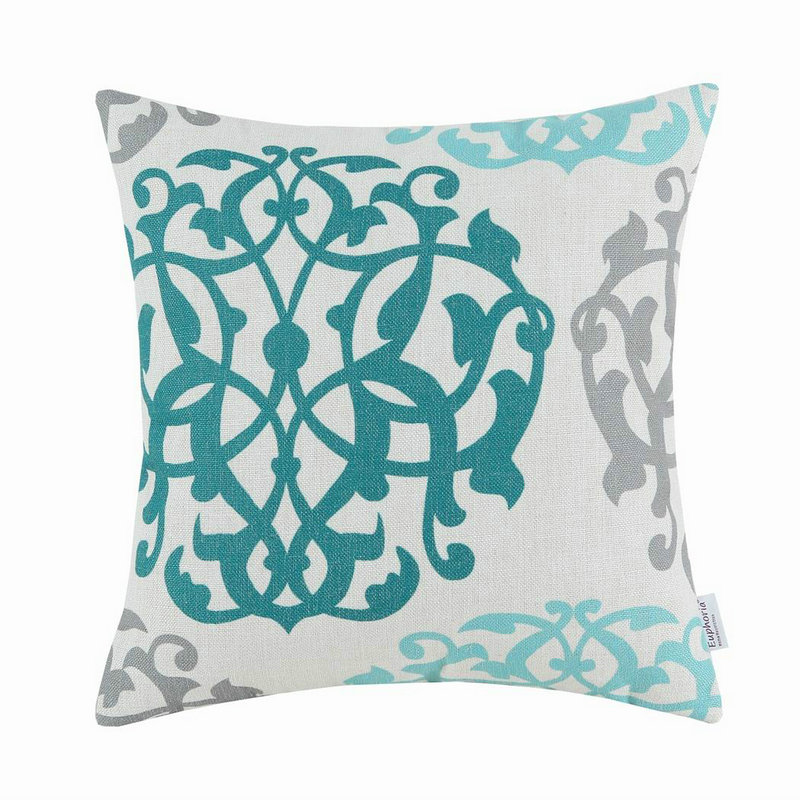 Calitime الوسائد الزخرفية قذيفة سيارة أريكة وسادة تغطي المنزل الأزهار تيل الهندسية 18