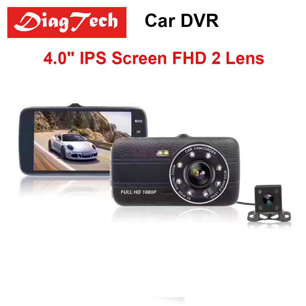 Gryan 4,0 Car камера-видеорегистратор регистраторы ips Экран Full HD 1080p Авто регистратор Двойной объектив Ночное видение с заднего Камера зеркало