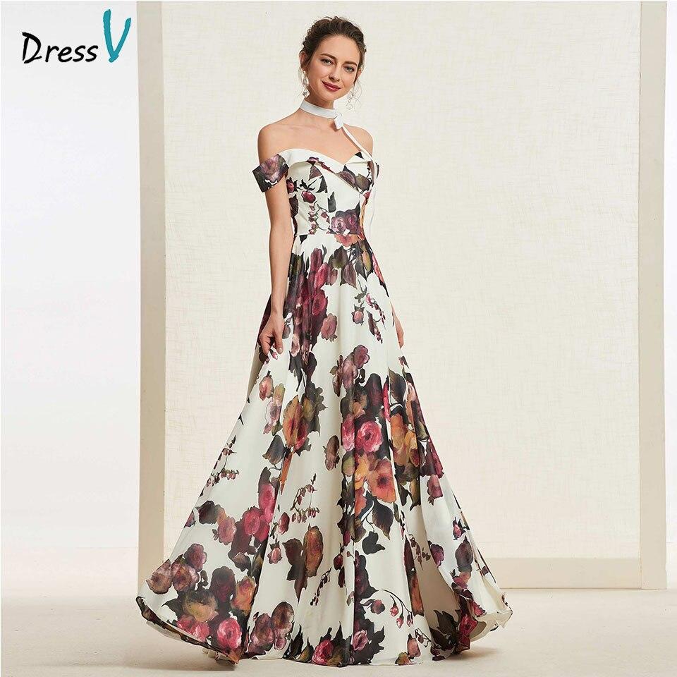 Dressv Evening Party-Gown Off-The-Shoulder Long Simple A-Line Floor-Length Zipper-Up