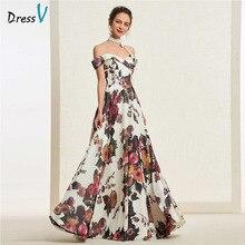 Dressv печать длинное платье выпускного вечера с открытыми плечами линия простая молния до пола Длина Вечерние платья для выпускного вечера