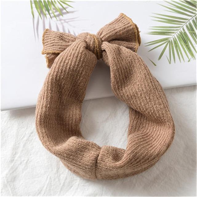 1 PC Winter Warm Ear Warmer Headwrap Xmas Girls' Crochet Headband Knitted Bow Hairband Hair Band Accessories 4
