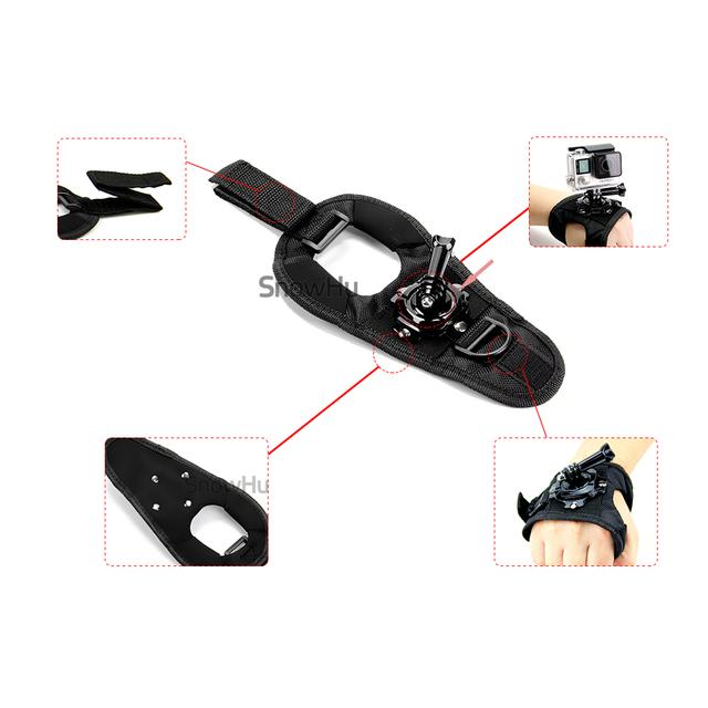 Glove Wrist Band 360 Degree Swivel Rotation Hand Strap Belt Tripod Mount For GoPro Hero 7/6/5/4/3+ For Go Pro SJCAM GP127L