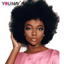 Монгольский афро Курчавый курчавый парик, короткие кружевные фронтальные человеческие волосы, парики 130% 13х4, предварительно выщипанные синтетические волосы