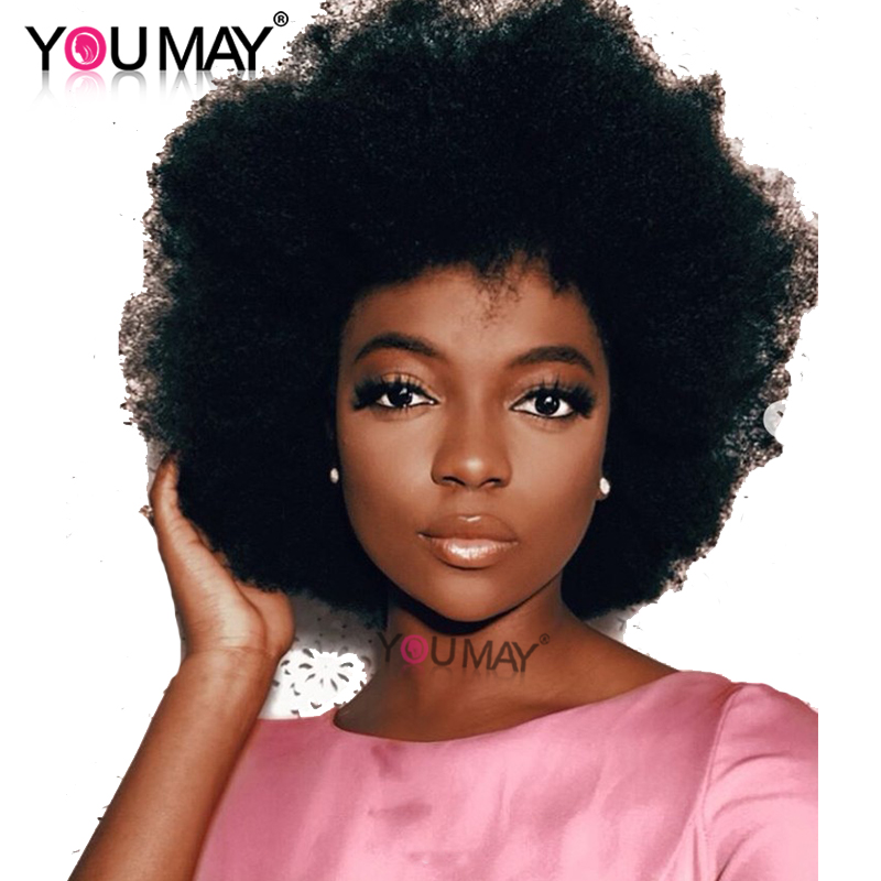 Mongolian Afro Kinky Curly Wig Short Lace Front Human Hair Wigs 130% 13x4 Pre Plucked Bob Lace Front Wigs Remy You May Hair