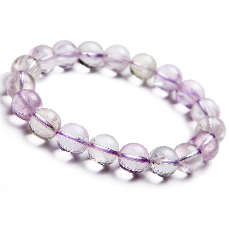 11mm genuino natural púrpura kunzite redondo Cuentas pulsera cristal  transparente estiramiento encanto pulsera de las mujeres 5c294cb4f7e31
